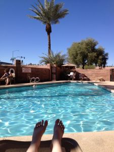 the beautiful pool at our hotel in Phoenix