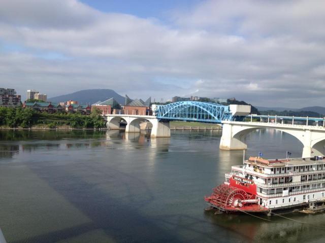 on the walking bridge at Chattanooga TN one beautiful summer morning last week